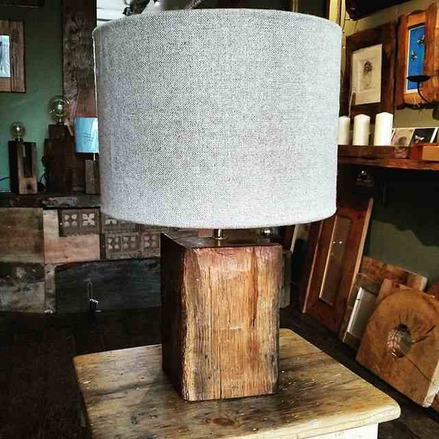Rustic lamp with shade