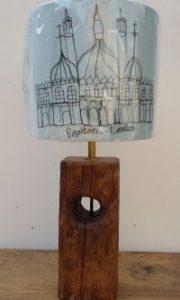 Reclaimed Oak Lamp with Brighton Shade