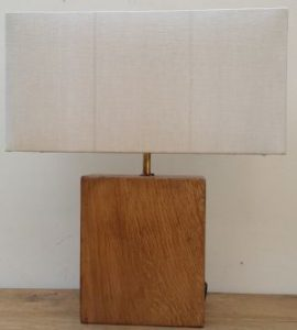 Oak Lamp with recliamed shade